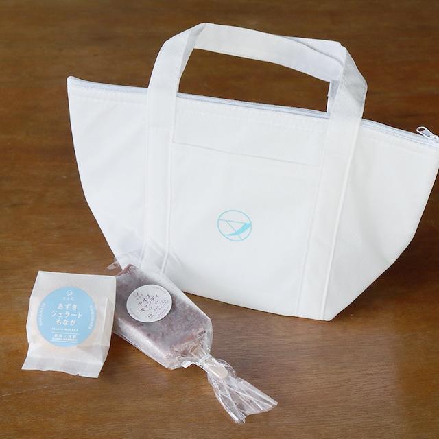 【オリジナル保冷バッグ付き】和菓子屋のあずきアイス5本とあずきジェラートもなか5個セット