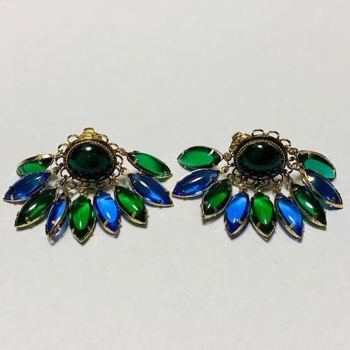 Vintage Dangle Blue & Green Bijoux Earrings