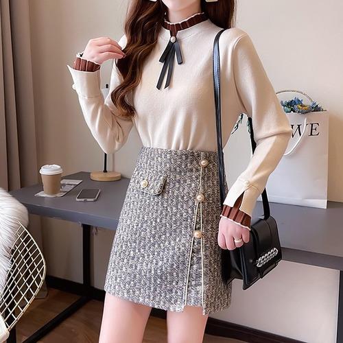 【2点セット】2色/リボンタイトップス+ツイードスカート ・18795