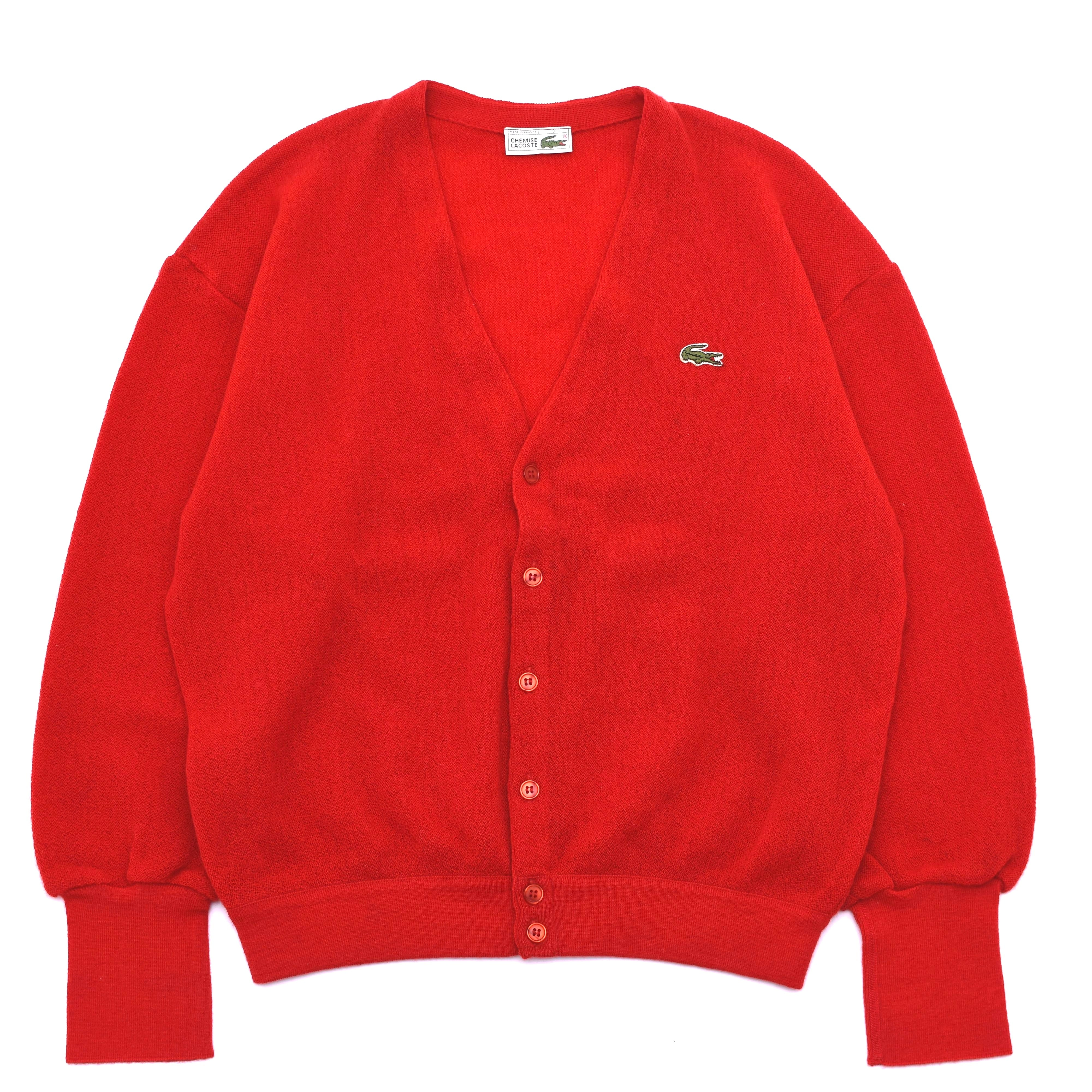 France made LACOSTE wool knit cardigan