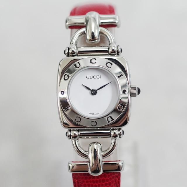 GUCCI グッチ 6300L クォーツ SS 革ベルト ホワイト文字盤 腕時計 レディース