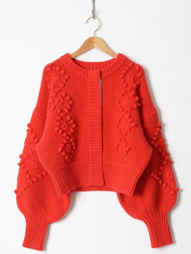 【HOLIDAY】WOOL CASHMERE PONPON KNIT CARDIGAN