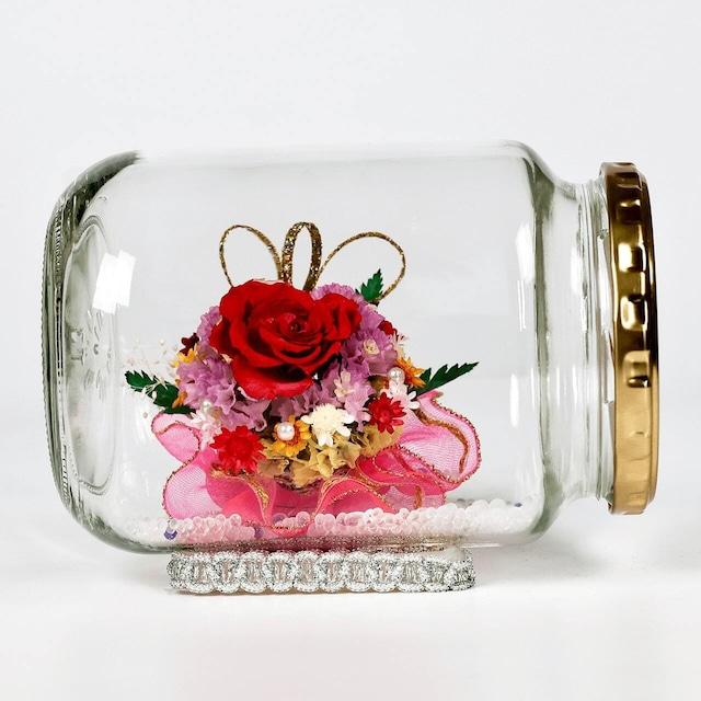 ボトルフラワー 赤バラと小花(ドライフラワー)【ガラス製】