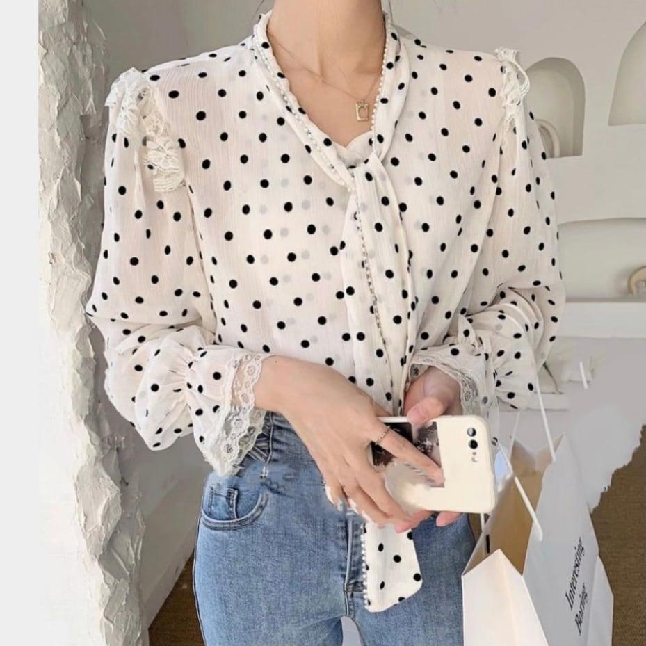 dot frill ribbon blouse[2103-27]