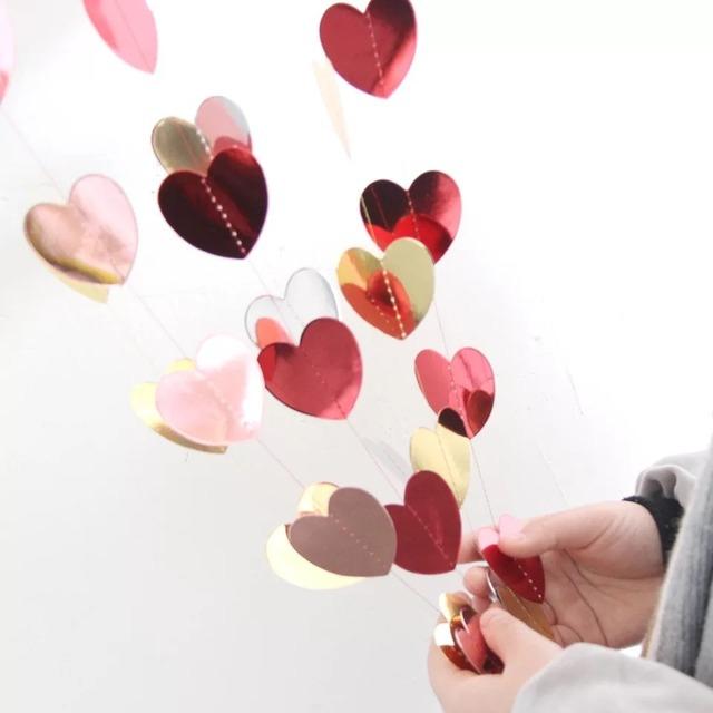【合わせ買い商品】ハートガーランド 光沢 メタリック バースデー ウェディング バレンタイン