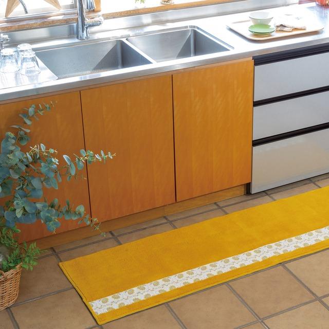 フィンランドの「幸せを運ぶ鳥」小鳥柄のキッチンマット270センチ イエロー