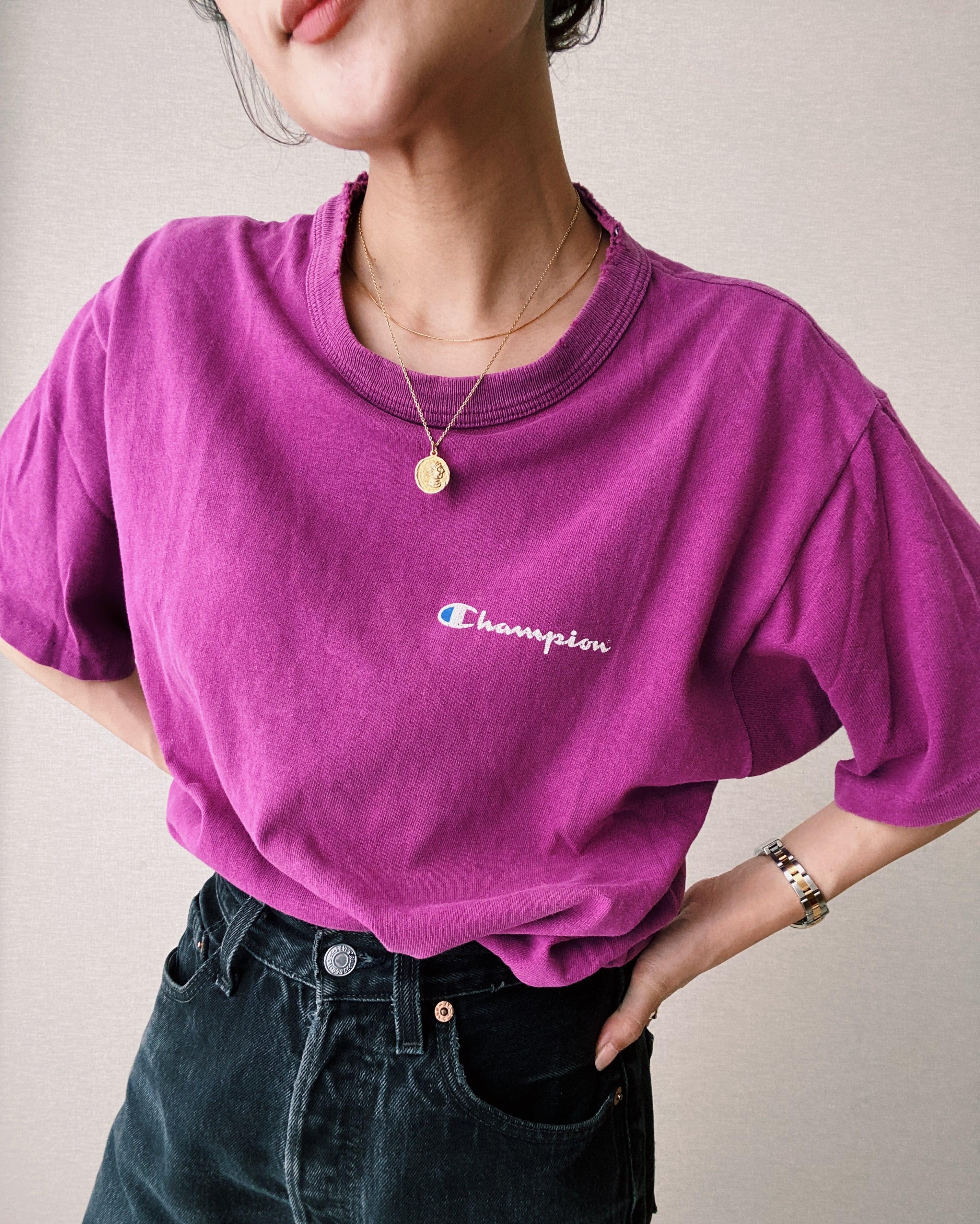 (CS356)90's Champion logo T-shirt made in USA(purple)