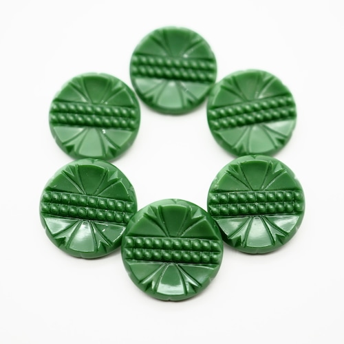 (6/10 9時より再販)深緑 レトロデザイン チェコガラスボタン ヴィンテージボタン