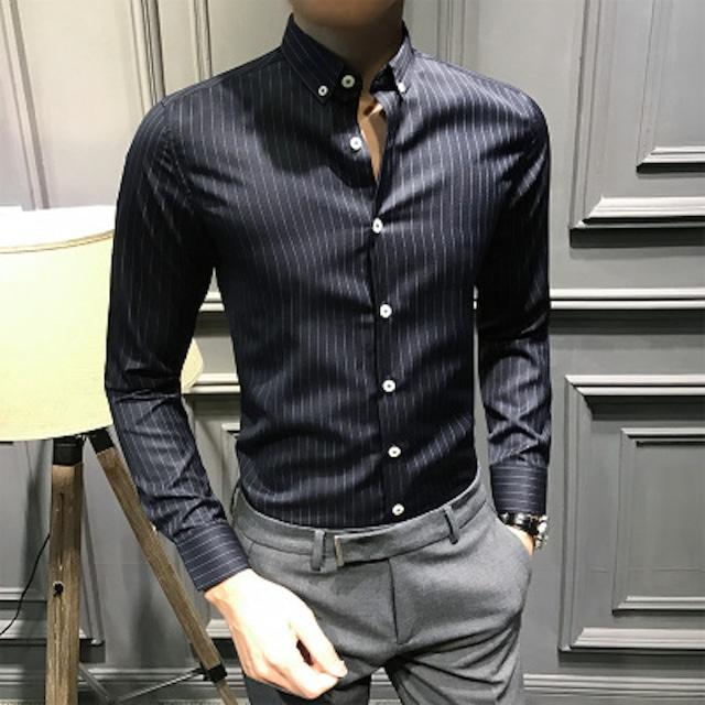 Yシャツ 長袖 メンズ ワイシャツ インナー トップス シンプル カットソー カジュtps-1798