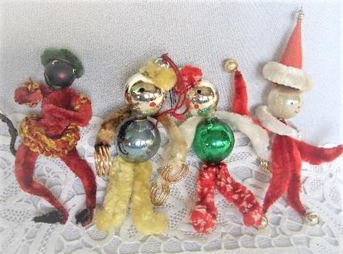 イギリス 古いおもちゃ サンタモール 人形4人 クリスマスオーナメント