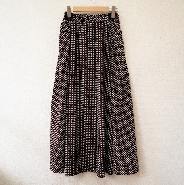 dot skirt  <brown>