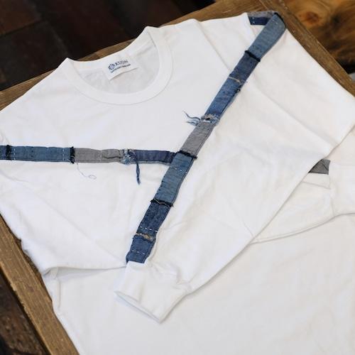 KUON(クオン) アップサイクル襤褸 トリミングロングTシャツ ホワイト