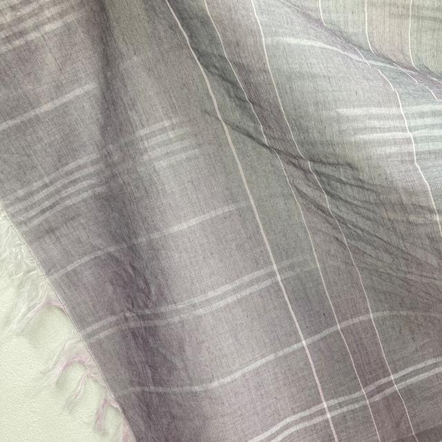 播州織 ストール 無地 パープル 縦180x横80 綿素材 大判 国産 軽い 洗える 日除け