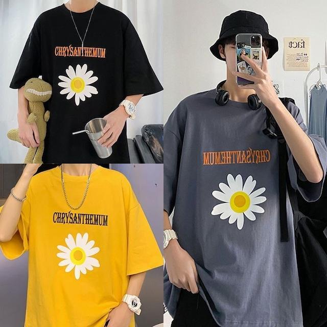 ユニセックス 半袖 Tシャツ メンズ レディース 英字 花 フラワープリント オーバーサイズ 大きいサイズ ルーズ ストリート TBN-612760174883