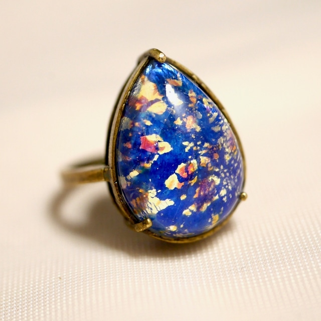 里帰り日本製 ブルーオパールガラスリング(指輪)