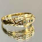 イギリス1899年製アンティークリングK18 指輪 ダイヤモンド エメラルド