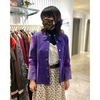 Purple leater × knit shirt