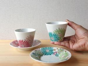 華 カップ&ソーサー(各 緑、黄)