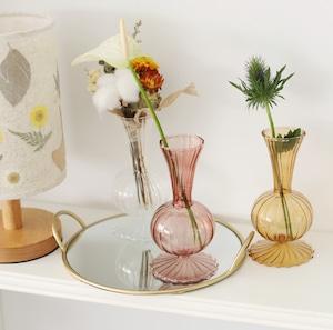 pleats glass vase 3colors / プリーツ ガラス ベース オブジェ 花瓶 韓国 北欧 雑貨