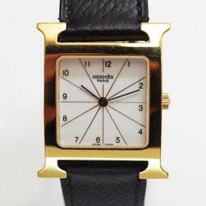 HERMES エルメス MM HH1.501 Hウォッチ SS クオーツ ホワイト 革ベルト 腕時計 レディース