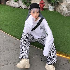 【ボトムス】ファッションハイウエストレギュラー丈ヒョウ柄カジュアルパンツ42907237