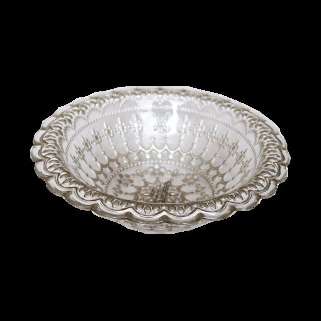 gold lathe bowl / ゴールドレースガラスボウル 17cm