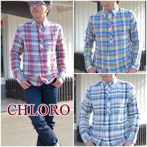 ボタンダウンシャツ CHLORO クロロ メンズ シャツ 長袖 チェックシャツ C325 ガーゼ生地