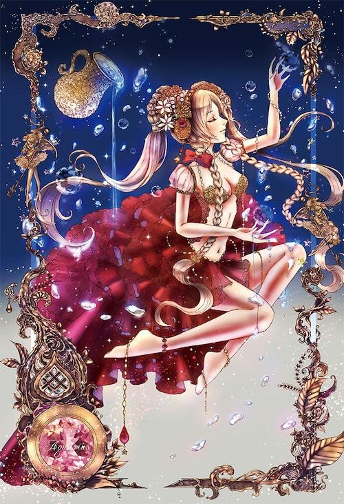 オリジナルウォールステッカー【星之物語ーStar Storyー 水瓶座ーAquariusー】A4 / yuki*Mami