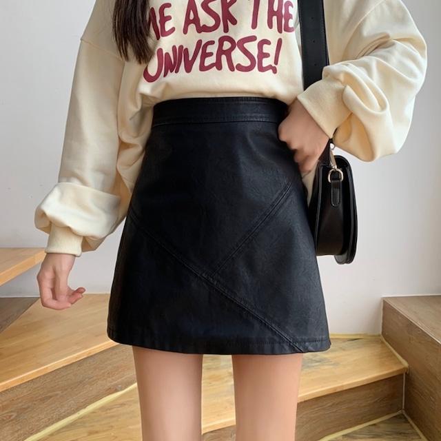 ハイウエストレザーミニスカート