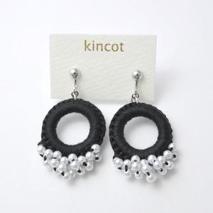 kincot リングパールイヤリング(ブラック)