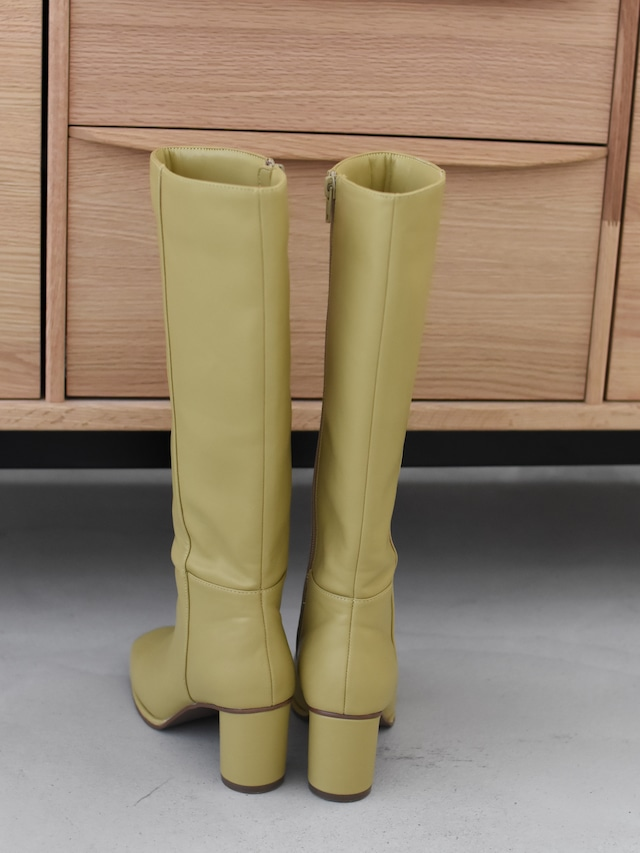 square toe long boots(dusty yellow)