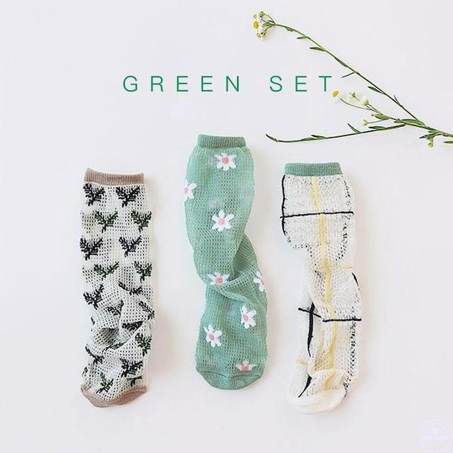 «即納» mesh socks 3set グリーンメッシュソックス 3足SET