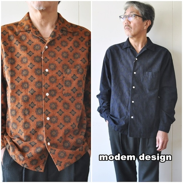 modemdesign モデムデザイン 長袖 オープンカラーシャツ 2006755 ペイズリー柄 起毛