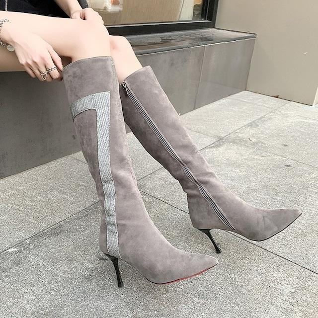 【シューズ】人気上昇中 ファッション ポイン テッドトゥ スエード ロング丈 ブーツ35465272