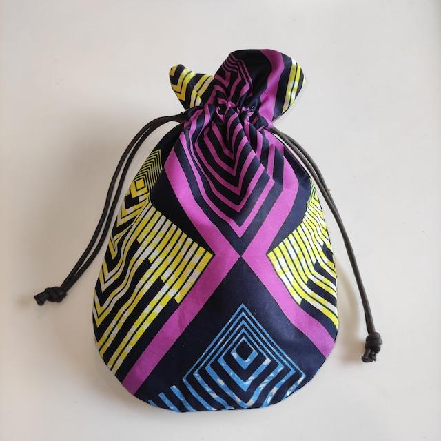 アフリカンファブリック 巾着袋 geometric アフリカンプリント