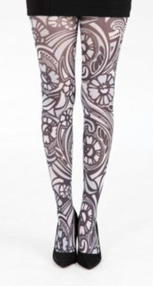 英国PAMELA MANN Retro Floral Printed Tights ホワイト