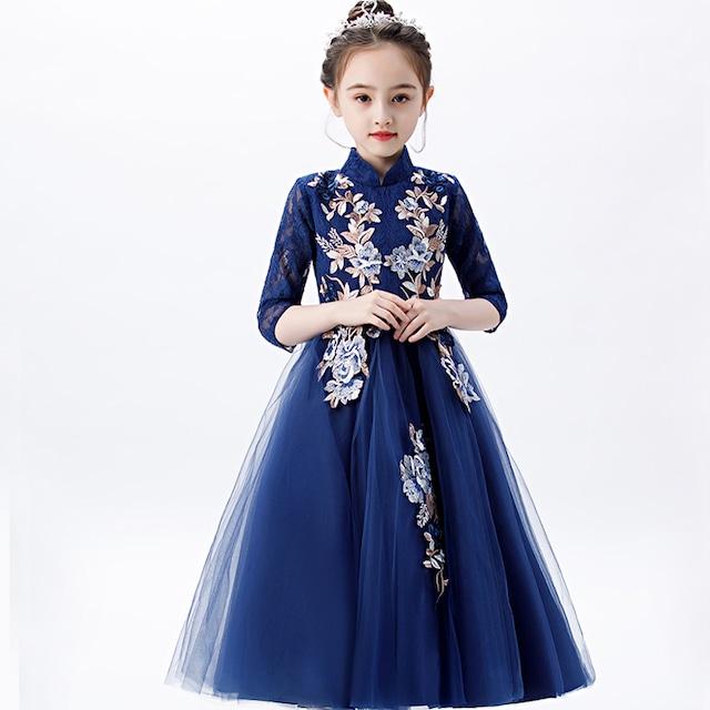 子どもドレス 子供ドレス キッズドレス 子供服装 演出装 舞台装 女の子 ワンピース ラウンドネック 七分袖 110 120 130 140 150 160 プレゼント 誕生日 ブルー 青い レース チュール