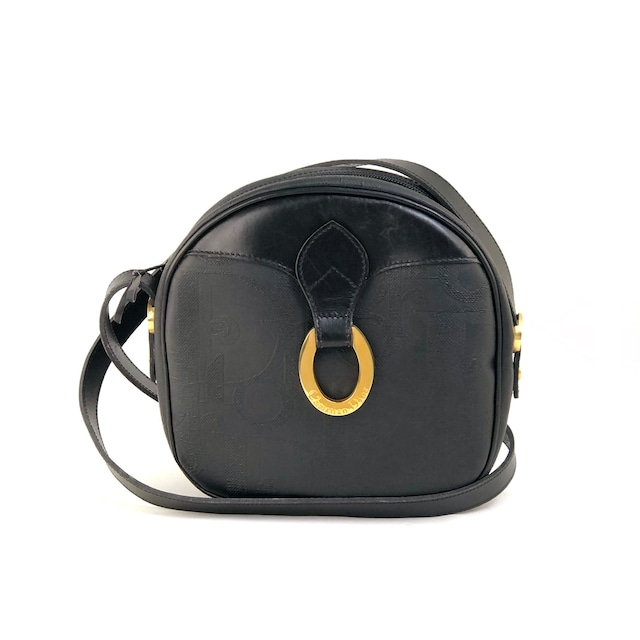 Christian Dior クリスチャン ディオール トロッター ロゴ金具 サークル ショルダーバッグ ポシェット ブラック vintage ヴィンテージ オールド yycpn5