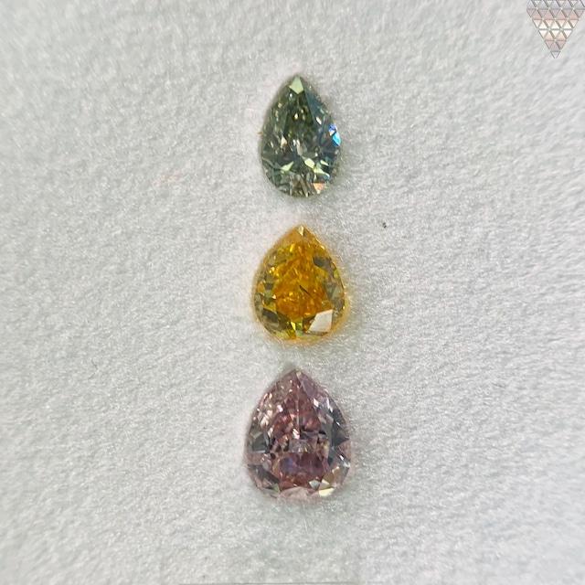 合計  0.69 ct 天然 カラー ダイヤモンド 3 ピース GIA  2 点 付 マルチスタイル / カラー FANCY DIAMOND 【DEF GIA MULTI】