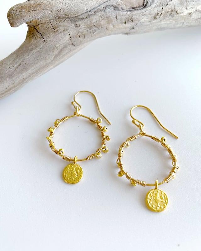 gold coin pierced earrings/ OBH-55