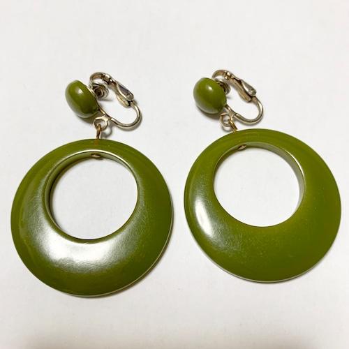 Vintage Olive Bakelite Hoop Dangle Earrings