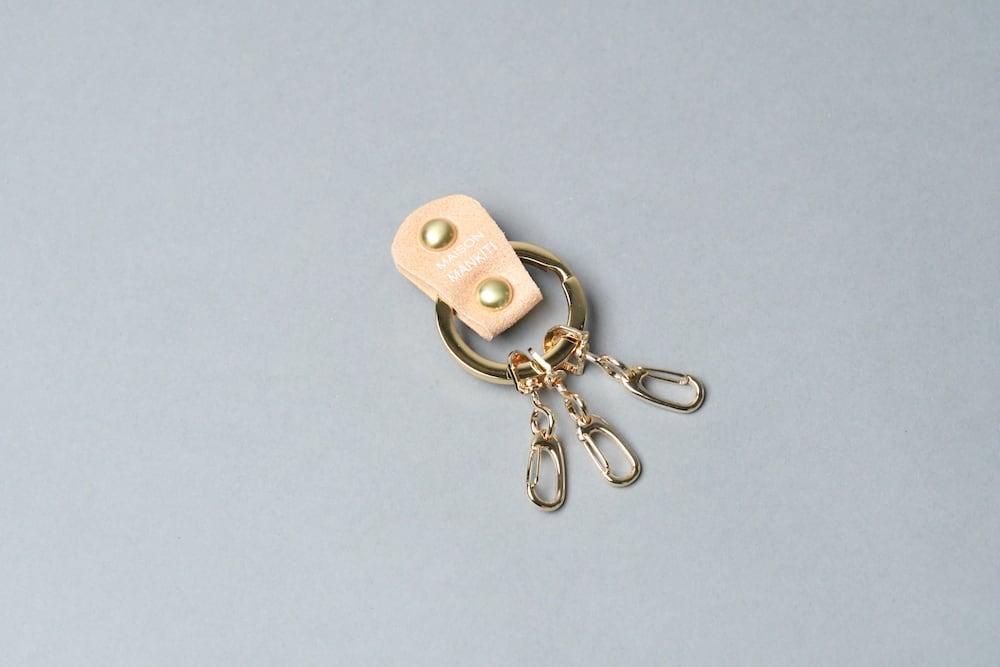KEY RING_本革真鍮キーリング_■ゴールド・ライトベージュ■ - 画像1