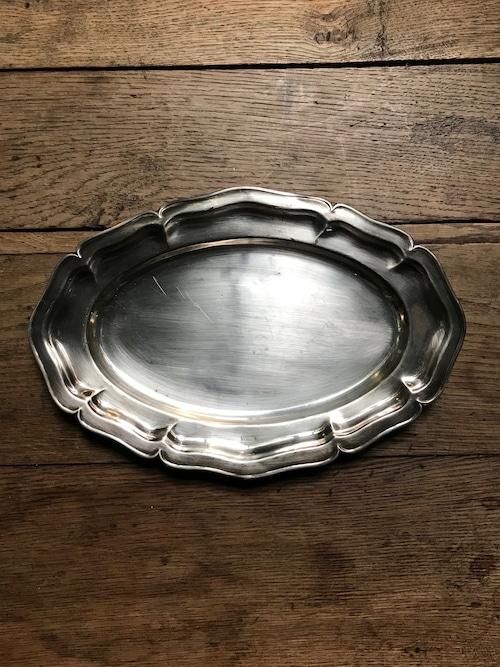 スウェーデン ビンテージ 花リム オーバル皿 シルバートレー(L)