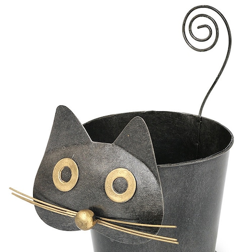 猫プランターカバー(おとぼけクロネコ)