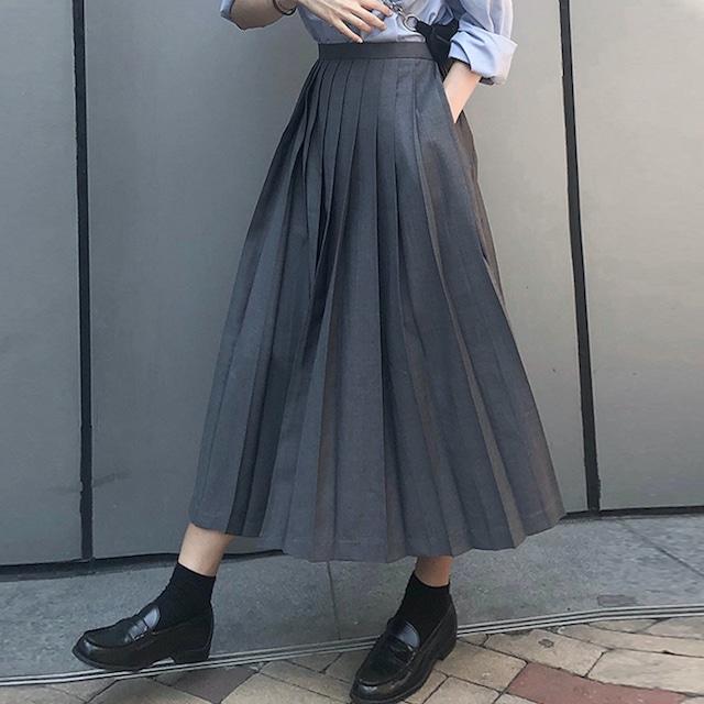 Aラインベーシックプリーツスカート 2colors