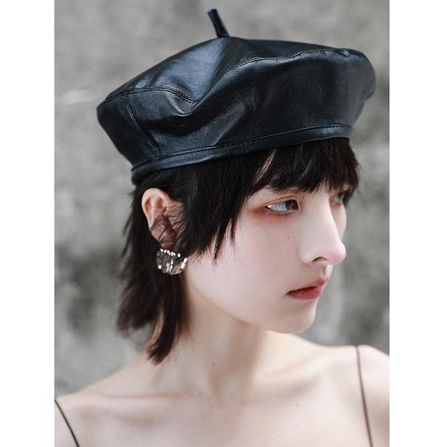 【大青龍肆シリーズ】★帽子★ レディース PU ベレー帽 小物 シンプル デート 撮影 レトロ ブラック 黒い