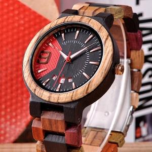 BOBOBIRD 木製時計BOBOBIRD黒 赤文字盤
