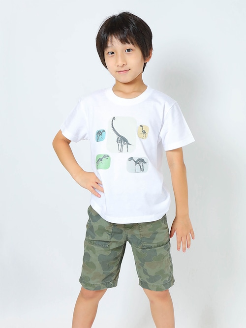 恐竜骨格3DプリントTシャツ子供用 ホワイト【KT-BO】
