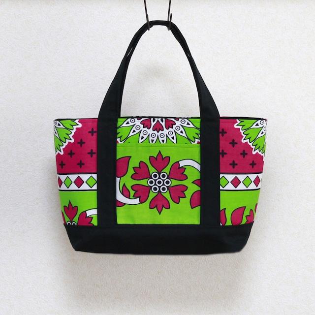 カンガのトートバッグ|横型 / 横長 / アフリカ布バッグ
