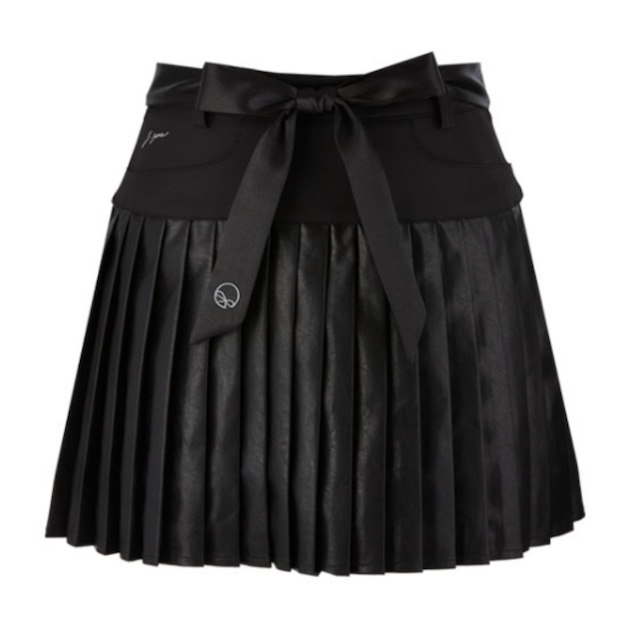 Satin Leather skirt(Black)